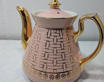 vintage MCM hall china made in USA pink gold teapot very nice