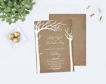 Elopement Invitation Rustic, Editable Elope Invitation, Wedding Invite, We Eloped, Wedding Elope, Instant Download, Wedding Printable