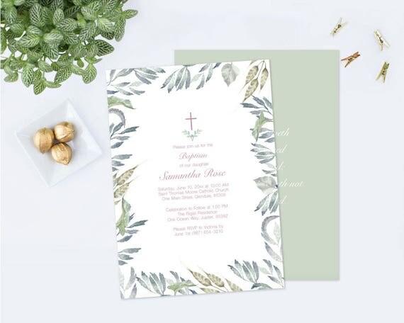 customizable text baptism invitation girl baptism diy invite