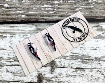 Great Spotted Woodpecker Earrings, Woodpecker Studs, Bird Jewellery, Bird Earrings, Bird Jewelry, Woodpecker Earrings