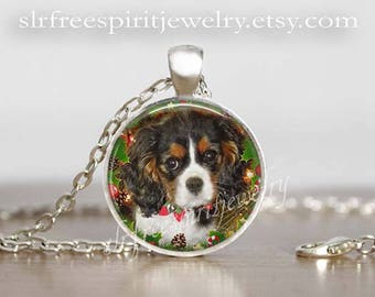 King Charles Spaniel Christmas Necklace,Photo Pendant, Cavalier King Charles Pendant, Christmas Jewelry, Dog Jewelry, King Charles Gift