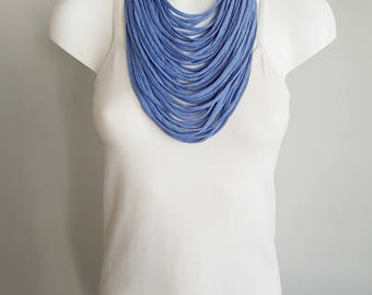 T shirt necklace, fabric necklace, multi strand necklace , blue necklace, upcycled jewelry, light blue necklace, blue scarf