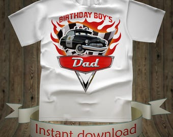 Dad Cars Birthday shirt Lightning McQueen Tee Tees T-Shirt Cars Printables tshirt iron on transfer birthday party decorations