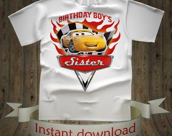 Cars Sister of the Birthday Boy Iron On Transfer, Cars Iron On Transfer, Diy Cars Birthday Shirt DIGITAL FILE