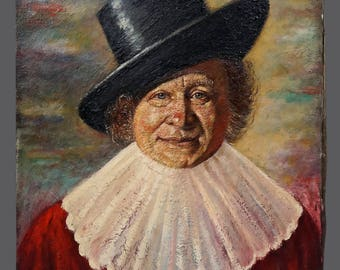 Vintage Oil Painting Man Portrait Black Top Hat Ruff Ruff 24 x 20