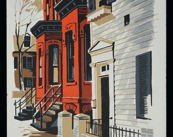 Mark Coomer Serigraph Orange House New Orleans Print Vintage Art Silkscreen Screenprint Silkscreen