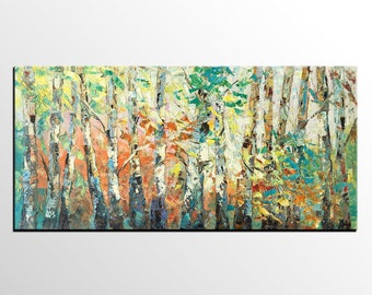 Birch Tree Painting, Canvas Art Painting, Original Oil Painting, Large Wall Art, Abstract Painting, Landscape Art Painting, Modern Painting