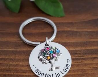 Family Tree Birthstone Keychain | Birthstone Keychain For Mom | Grandma Gifts | Birthstone Tree Keychain | Family Tree Keychain | Mom Gifts