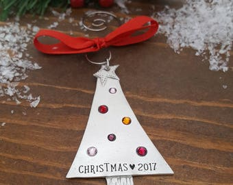 Pewter Family Tree Christmas Ornament | Personalized Family Tree Ornament | Birthstone Tree Ornament | Family Ornaments | Holiday Keepsakes