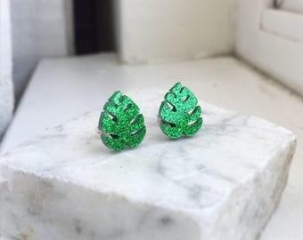 Leaf Earrings, Green Leaf Earrings, Green Glitter Earrings, Stainless Steel Earrings, Hypo Allergenic Earrings, Plant Leaf Earrings