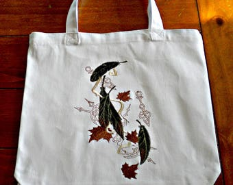 Feathers embroidered - white Steampunk tote bag