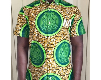 Shirt, full collar. African fabric ,african print. Medium size.