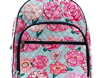 Floral Print Large Quilted Backpack Great for Back to School or Diaper Bag Navy Trim