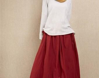 New Style Loose Linen Women Ankle Length Skirt