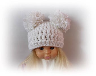 Pom pom Crochet hat baby pom pom hat white baby hat Crochet girl hat Baby hat Crochet toddler hat Newborn pom pom hat baby Photo Prop