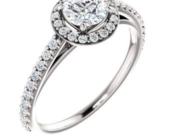 PLATINUM! 1.00 Carat Genuine Natural Diamond Solitaire Halo Style Designer Ring
