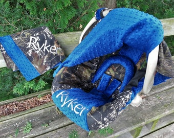3 Piece Set - Camo Infant Car Seat Cover, Canopy Cover and Blanket, Mossy Oak fabric and Royal Blue minky, Personalized