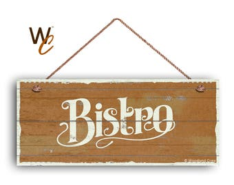 """ON SALE Bistro Sign, French Cafe 6""""x14"""" Sign, Orange Rustic Style Kitchen Sign, Housewarming Gift, Dining Sign, Made To Order"""