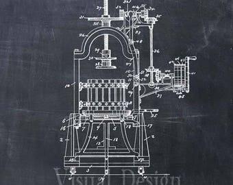 Wine Press Patent Print Wine Press Art Print