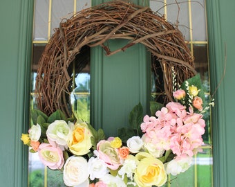 Pink, White and Yellow Rustic Faux Flower Wreath