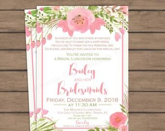 Bridal Brunch Invitation - Honoring Bridesmaids - Bridal - Wedding - Watercolor - Flowers - Floral - Printable - Pink - Green - Luncheon