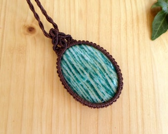 Amazonite macrame pendant, macrame jewelry, amazonite necklace, macrame stone, gemstone pendant, amazonite jewelry, tribal pendant