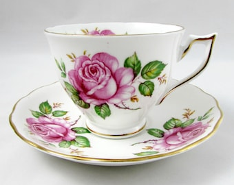 Vintage Tea Cup and Saucer by Melba, Pink Roses, Bone China