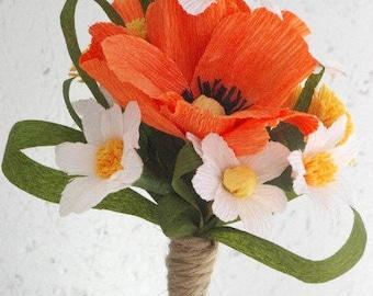 Orange Yellow Crepe Paper Bouquet, Summer  Paper Flowers, Bridesmade Bouquet, Dandelion Weddings, Paper Poppies  in Wedding, Summer Weddings