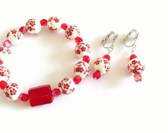 Set bracelet and earrings red ref 525