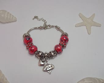 "Charm's Red charm bracelet with ""love"" ref 477"