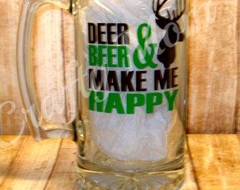 Deer & Beer Make Me Happy Beer Mug