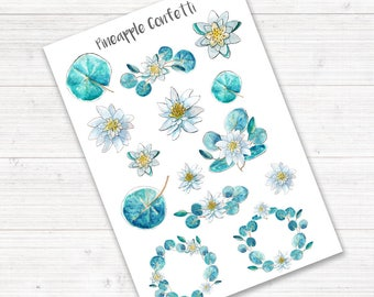 Waterlily Stickers, Planner Stickers, Watercolor Stickers, Deco Stickers, Pastel Stickers, Flower Stickers, Floral, Bullet Journal Stickers
