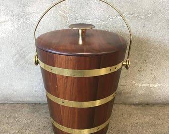 Mid Century Modern Walnut Ice Bucket (17C67L)