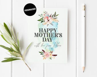 Personalized Mothers Day Card, Floral Mother's Day Card, Pretty Card For Mum, Custom Mother's Day Card, Birthday Card For Mom, Pretty Card