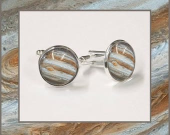 Jupiter Cufflinks with high quality photo card presented in a stylish black and silver box.