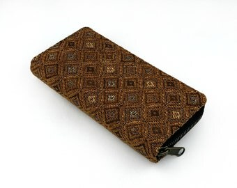Boho Wallet - Tribal Inspired, Hipster Wallet Purse, Handmade Zippered Wallet Clutch, Hippie wallet - Brown Native Fabric, Womens Gift