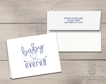 Baby Shower Letterpress Foil Thank You Cards & Envelopes - Correspondence Cards - Custom Stationery Note Cards