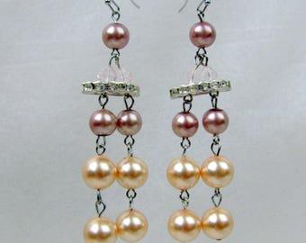 Pearl Glass Beaded Earrings ~ Ivory Tone ~ Mauve ~ Long Dangle ~ Pierced ~ Wedding ~ Handcrafted