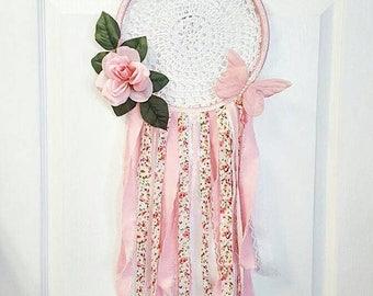 Large Pink Dreamcatcher - Buttetfly - Glitter - Nursery Decor - Baby Girl - One Of A Kind - Dream - BOHO