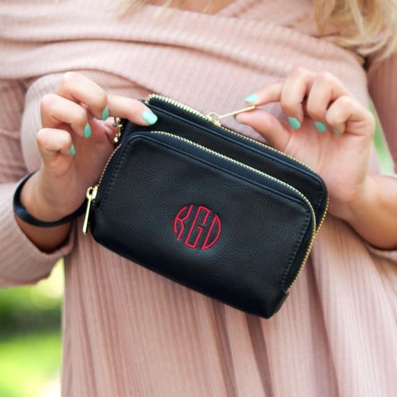 Monogrammed Wristlet Black Personalized Wristlet Black Vegan Leather Wallet Monogrammed Gifts Personalized Gifts Purse Highway12Designs