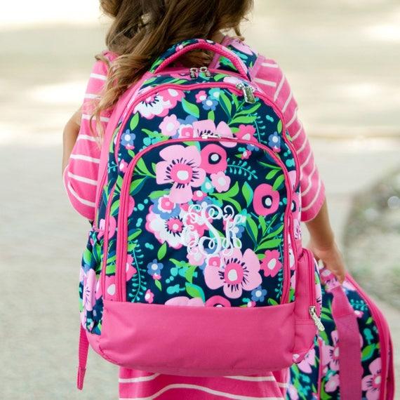 Monogrammed Backpack Personalized Book Bag Back To School Pink Floral Multicolored Backpack Girls Backpack School Backpack Highway12Designs