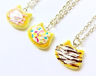 3 Cat pancake necklaces Cat necklace Pancake necklace Dessert jewelry Food jewelry Kawaii cat jewelry Handmade unique gift for cat lovers