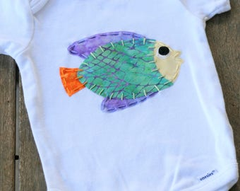 Colorful Fish Onesie - Baby Girl - Baby Boy