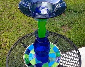 Blue Green Waters Birdbath - Bird Feeder - One of a Kind