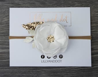 White Ivory Rose Gold - Glitter - Sequin - Flower Headband - Baby Headband - Girls Hairband - Flower Crown - Spring Heaband - Nylon*