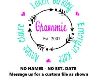 Grammie monogram svg - grammie monogram svg- mamaw monogram - arrow frame svg , Nana, mimi, gigi -Shirt With Kids Name - svg eps dfx - NO na