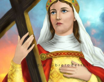 "Saint Helena, Catholic Art, Religious Art, 8x10"" Print, wall decor, ready to frame"