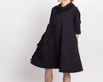 Black dress / Women's knee length casual dress / Hooded cotton dress w. pockets / A-line plus size / Fasada 18001