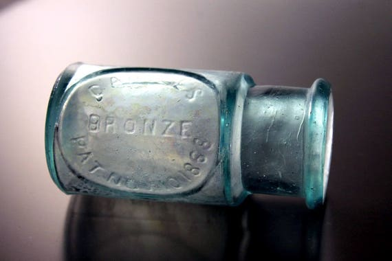 Antique Bottle, Cahill's Bronze, Paint Bottle, Aqua Bottle, Small Bottle, Hard To Find, Embossed