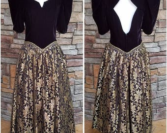 Black velvet party dress with opening in back and full gold floral lace skirt - Small